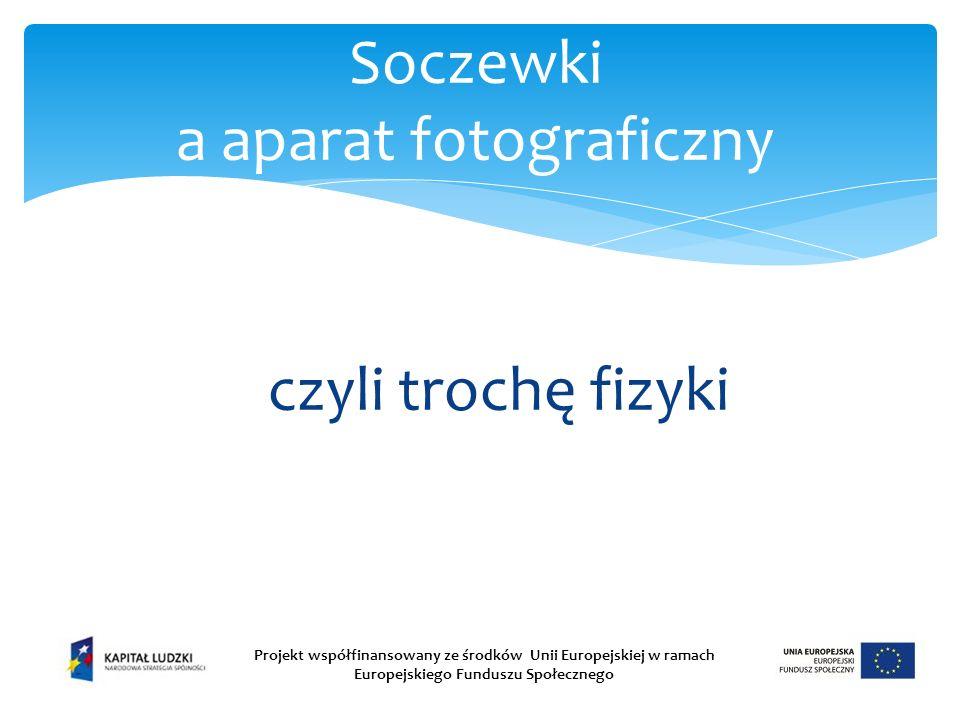 czyli trochę fizyki Soczewki a aparat fotograficzny Projekt współfinansowany ze środków Unii Europejskiej w ramach Europejskiego Funduszu Społecznego