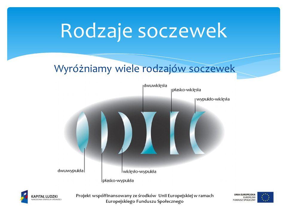 Rodzaje soczewek Projekt współfinansowany ze środków Unii Europejskiej w ramach Europejskiego Funduszu Społecznego Wyróżniamy wiele rodzajów soczewek