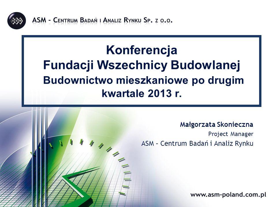 Konferencja Fundacji Wszechnicy Budowlanej Budownictwo mieszkaniowe po drugim kwartale 2013 r. Małgorzata Skonieczna Project Manager ASM – Centrum Bad