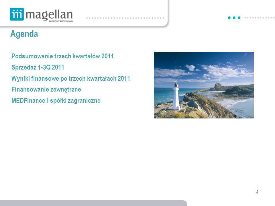 4 Agenda Podsumowanie trzech kwartałów 2011 Sprzedaż 1-3Q 2011 Wyniki finansowe po trzech kwartałach 2011 Finansowanie zewnętrzne MEDFinance i spółki zagraniczne