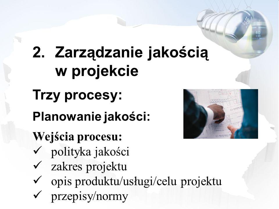 2.Zarządzanie jakością w projekcie Trzy procesy: Planowanie jakości: Wejścia procesu: polityka jakości zakres projektu opis produktu/usługi/celu proje