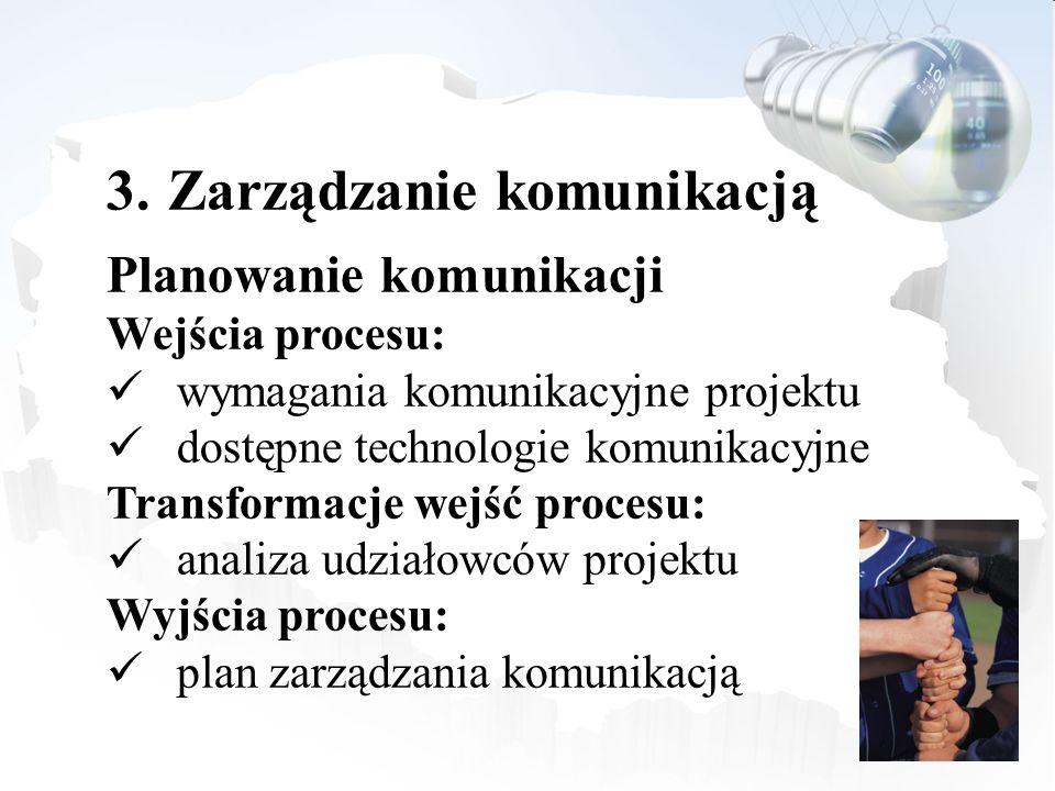 3.Zarządzanie komunikacją Planowanie komunikacji Wejścia procesu: wymagania komunikacyjne projektu dostępne technologie komunikacyjne Transformacje we