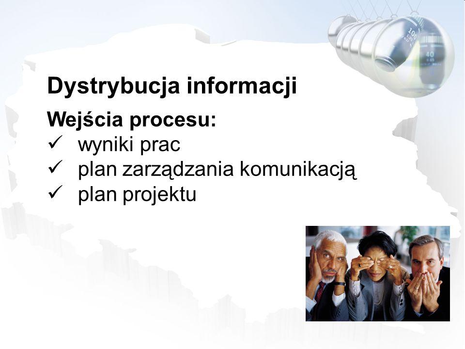 Dystrybucja informacji Wejścia procesu: wyniki prac plan zarządzania komunikacją plan projektu
