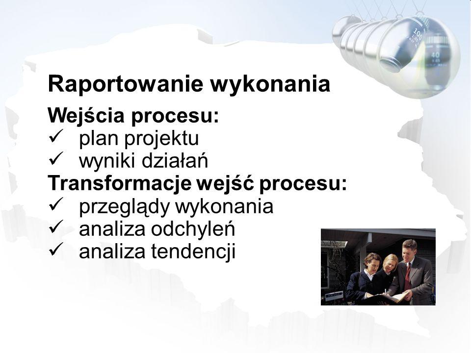 Raportowanie wykonania Wejścia procesu: plan projektu wyniki działań Transformacje wejść procesu: przeglądy wykonania analiza odchyleń analiza tendenc