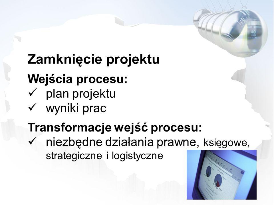 Zamknięcie projektu Wejścia procesu: plan projektu wyniki prac Transformacje wejść procesu: niezbędne działania prawne, księgowe, strategiczne i logis