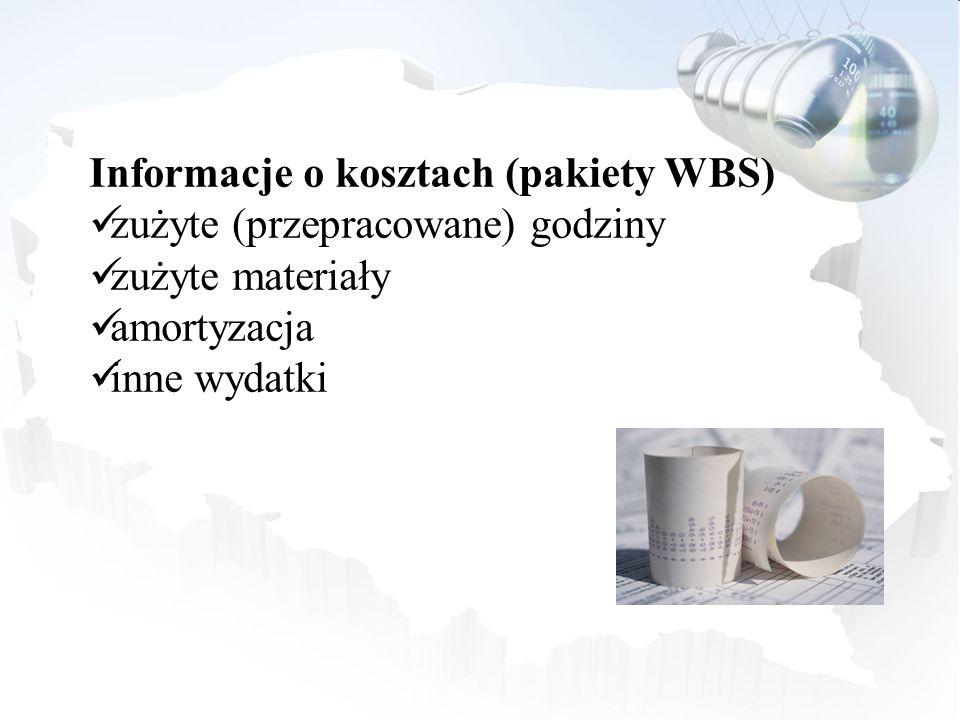 Informacje o kosztach (pakiety WBS) zużyte (przepracowane) godziny zużyte materiały amortyzacja inne wydatki