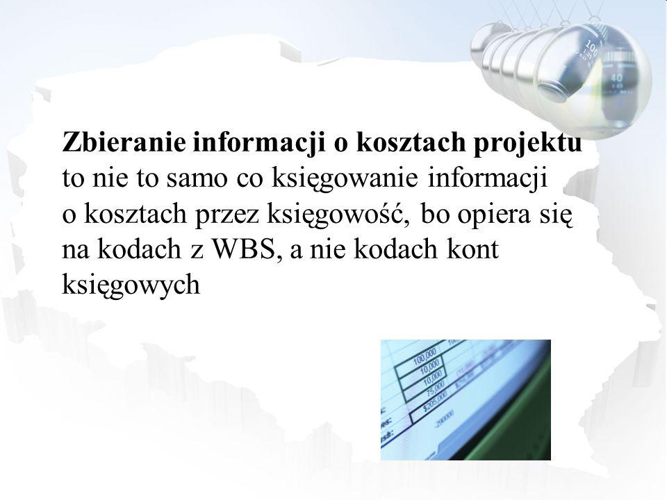 Zbieranie informacji o kosztach projektu to nie to samo co księgowanie informacji o kosztach przez księgowość, bo opiera się na kodach z WBS, a nie ko