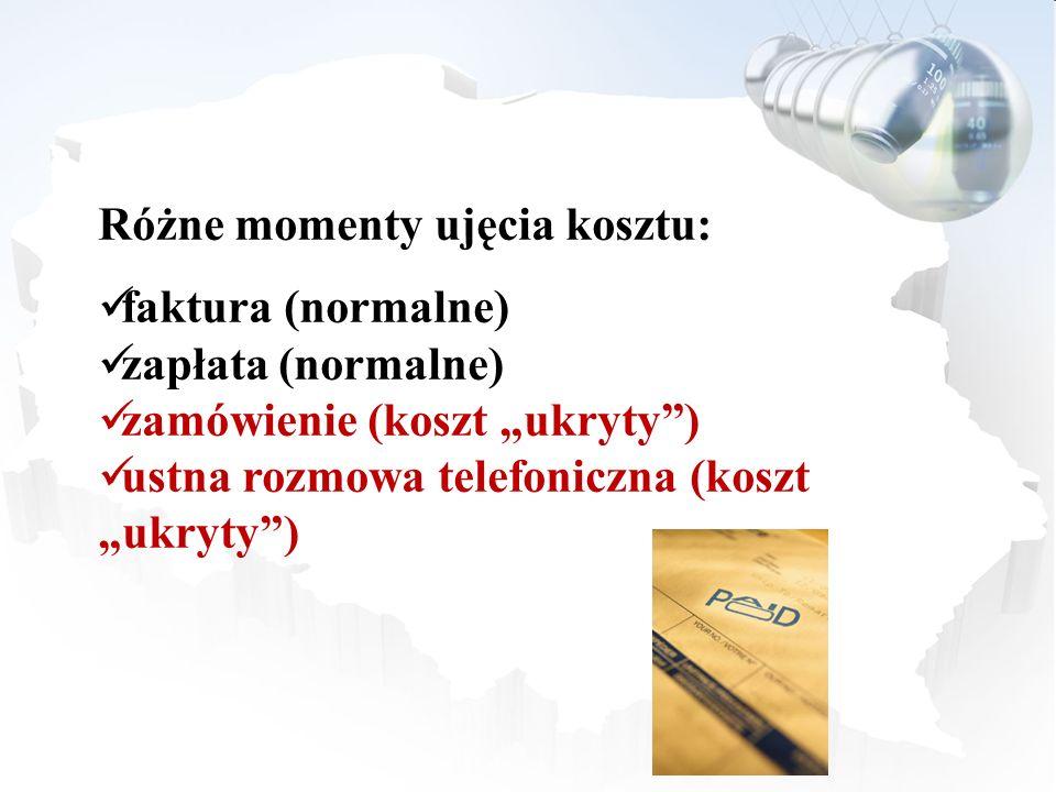 Różne momenty ujęcia kosztu: faktura (normalne) zapłata (normalne) zamówienie (koszt ukryty) ustna rozmowa telefoniczna (koszt ukryty)