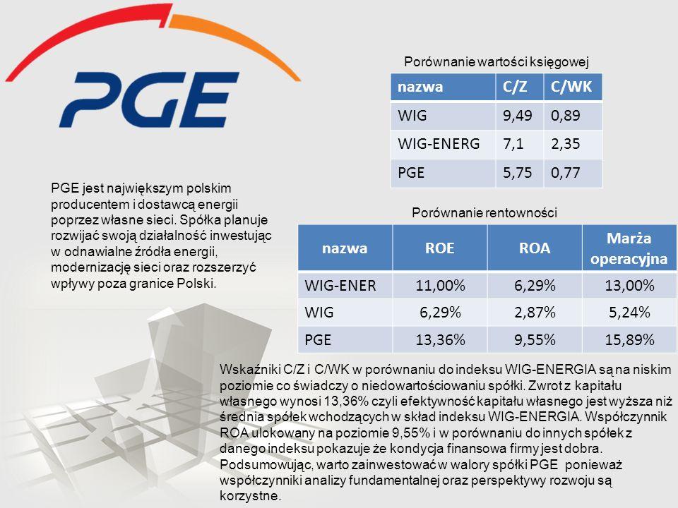 PGE jest największym polskim producentem i dostawcą energii poprzez własne sieci. Spółka planuje rozwijać swoją działalność inwestując w odnawialne źr