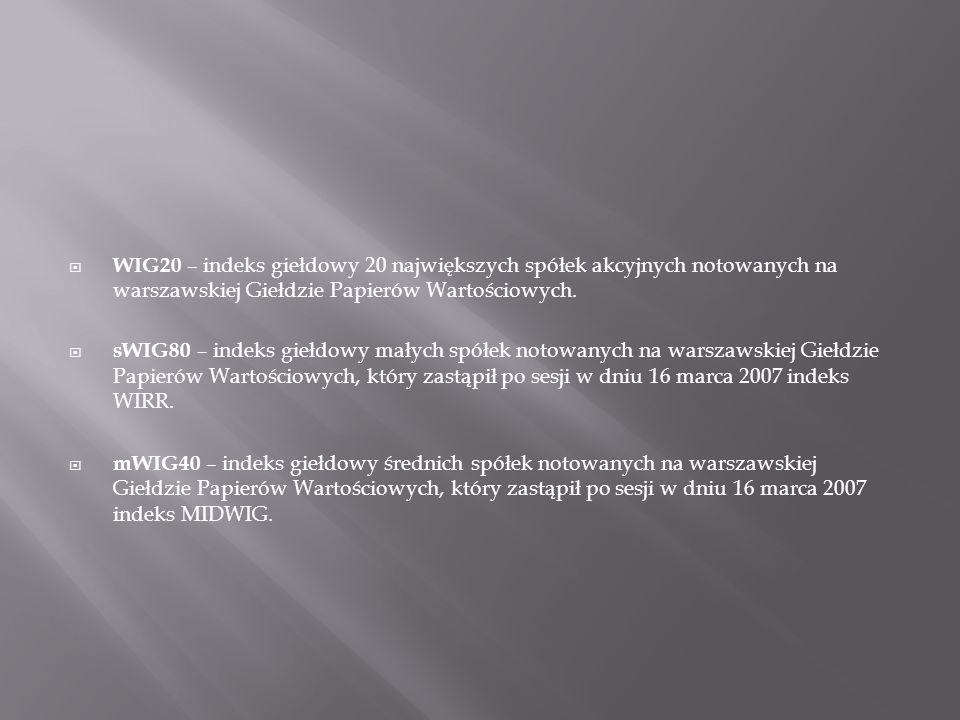 WIG20 – indeks giełdowy 20 największych spółek akcyjnych notowanych na warszawskiej Giełdzie Papierów Wartościowych. sWIG80 – indeks giełdowy małych s
