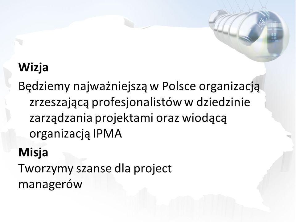 Wizja Będziemy najważniejszą w Polsce organizacją zrzeszającą profesjonalistów w dziedzinie zarządzania projektami oraz wiodącą organizacją IPMA Misja