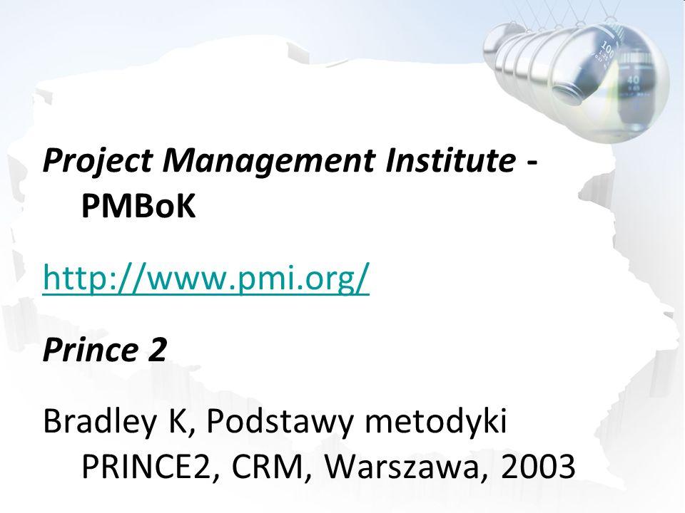 Project Management Institute - PMBoK http://www.pmi.org/ Prince 2 Bradley K, Podstawy metodyki PRINCE2, CRM, Warszawa, 2003
