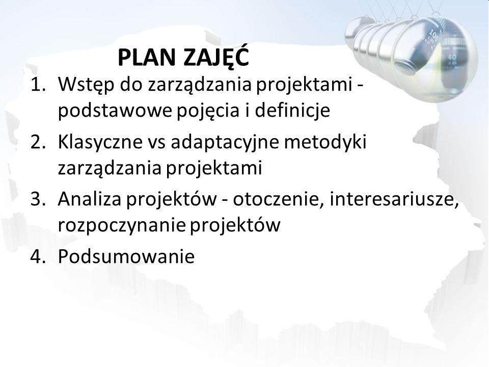 PLAN ZAJĘĆ 1.Wstęp do zarządzania projektami - podstawowe pojęcia i definicje 2.Klasyczne vs adaptacyjne metodyki zarządzania projektami 3.Analiza projektów - otoczenie, interesariusze, rozpoczynanie projektów 4.Podsumowanie