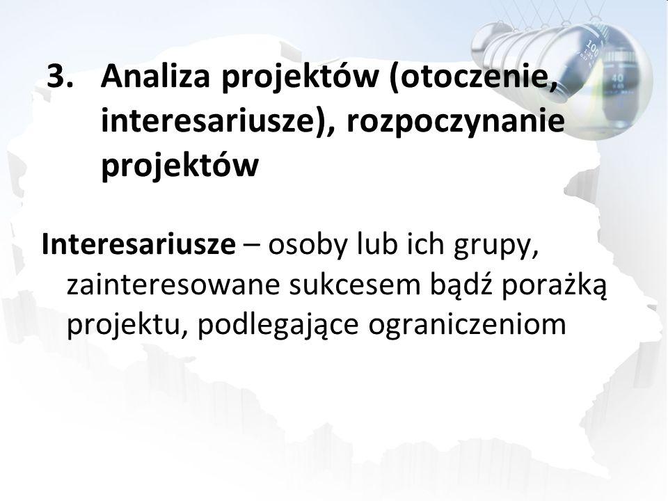 3.Analiza projektów (otoczenie, interesariusze), rozpoczynanie projektów Interesariusze – osoby lub ich grupy, zainteresowane sukcesem bądź porażką projektu, podlegające ograniczeniom