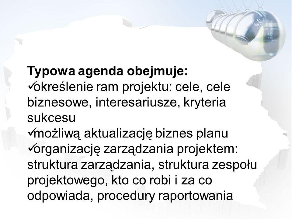Typowa agenda obejmuje: określenie ram projektu: cele, cele biznesowe, interesariusze, kryteria sukcesu możliwą aktualizację biznes planu organizację