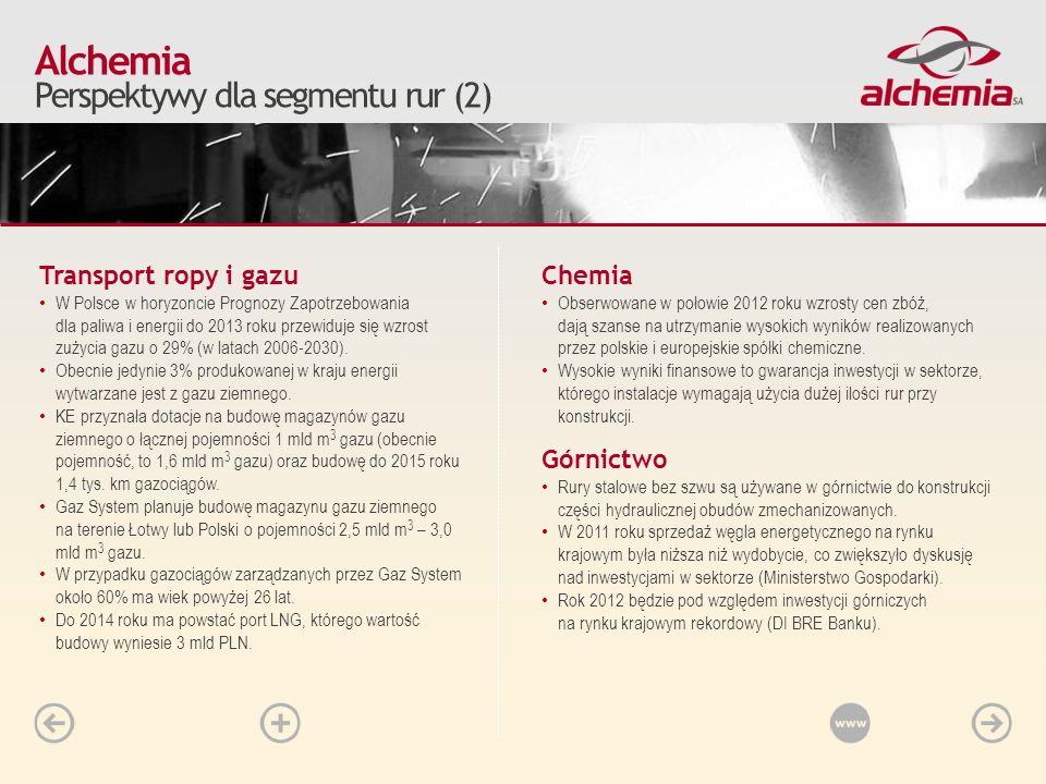 Transport ropy i gazu W Polsce w horyzoncie Prognozy Zapotrzebowania dla paliwa i energii do 2013 roku przewiduje się wzrost zużycia gazu o 29% (w lat