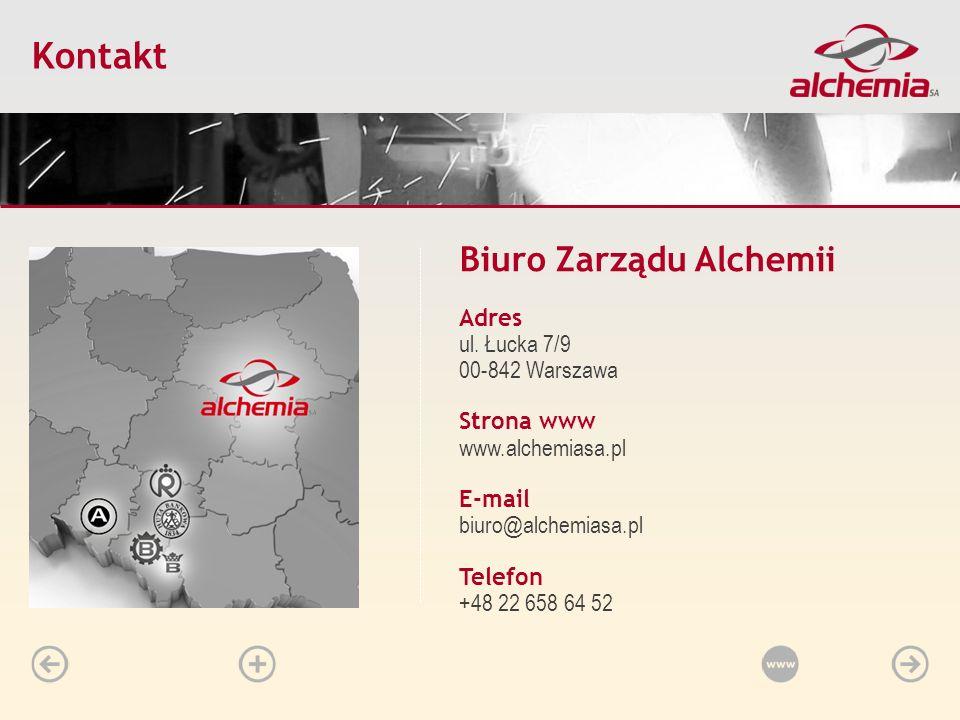 Biuro Zarządu Alchemii Adres ul. Łucka 7/9 00-842 Warszawa Strona www www.alchemiasa.pl E-mail biuro@alchemiasa.pl Telefon +48 22 658 64 52 Start Hist