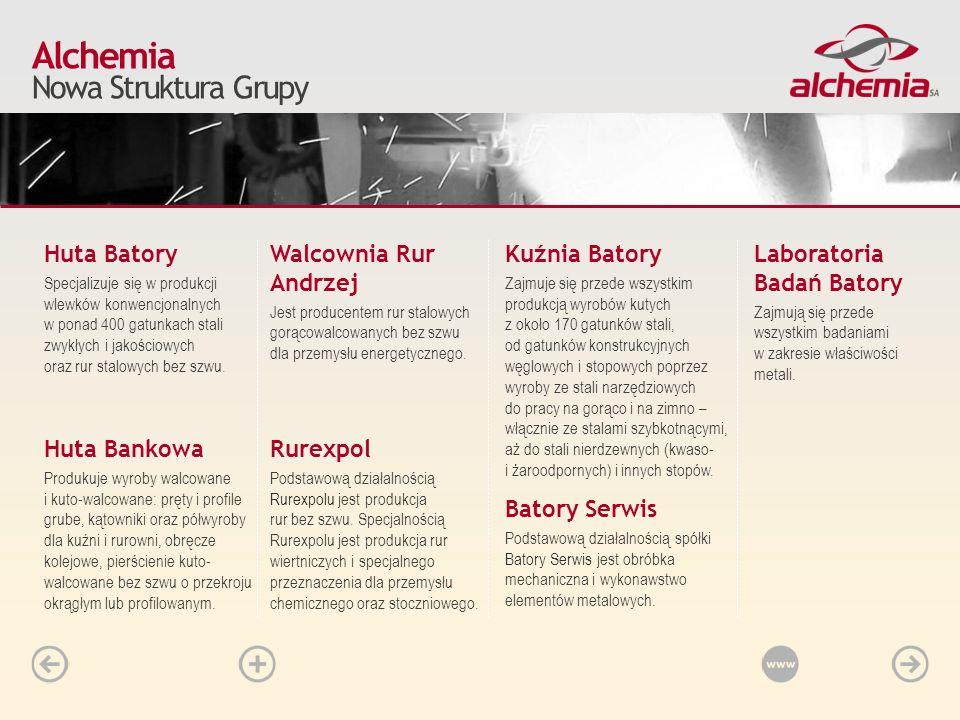 W segmencie rur Alchemia kontroluje ponad 90% krajowych mocy wytwórczych w zakresie produkcji rur stalowych bez szwu.