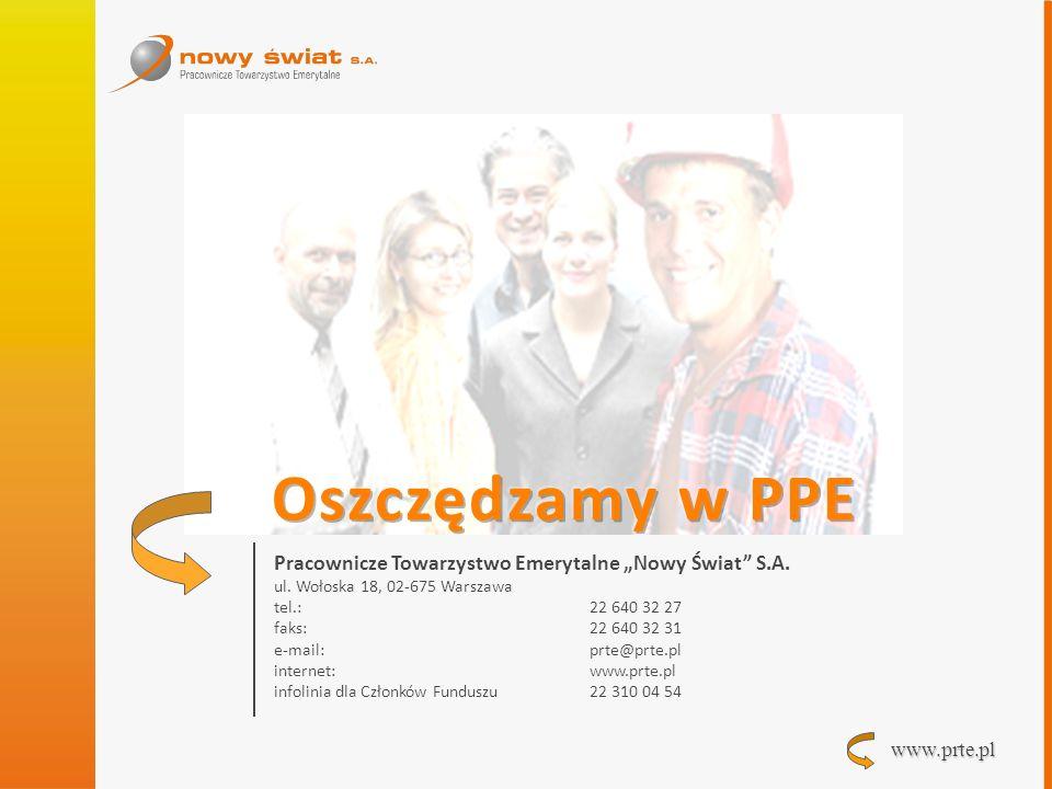 www.prte.pl Pracownicze Towarzystwo Emerytalne Nowy Świat S.A. ul. Wołoska 18, 02-675 Warszawa tel.: 22 640 32 27 faks: 22 640 32 31 e-mail:prte@prte.
