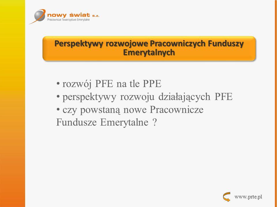 www.prte.pl Perspektywy rozwojowe Pracowniczych Funduszy Emerytalnych rozwój PFE na tle PPE perspektywy rozwoju działających PFE czy powstaną nowe Pra