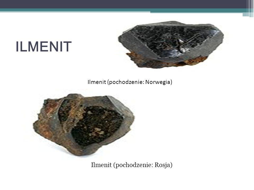 ILMENIT Skład chemiczny: tlenek żelaza i tytanu (FeTiO 3 ) Twardość w skali Mohsa: 5–6 Przełam: muszlowy Łupliwość: niewyraźna Pokrój kryształu: romboedryczny, grubo tabliczkowy, płytkowy Układ krystalograficzny: trygonalny Gęstość minerału 4,7 g/cm³