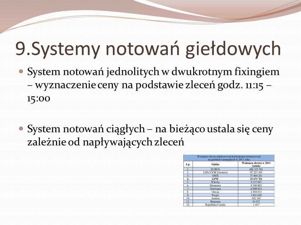 9.Systemy notowań giełdowych System notowań jednolitych w dwukrotnym fixingiem – wyznaczenie ceny na podstawie zleceń godz. 11:15 – 15:00 System notow