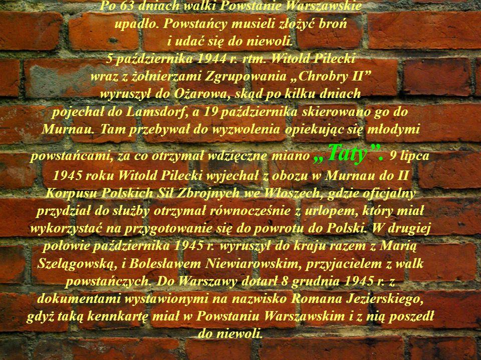 Po 63 dniach walki Powstanie Warszawskie upadło. Powstańcy musieli złożyć broń i udać się do niewoli. 5 października 1944 r. rtm. Witold Pilecki wraz