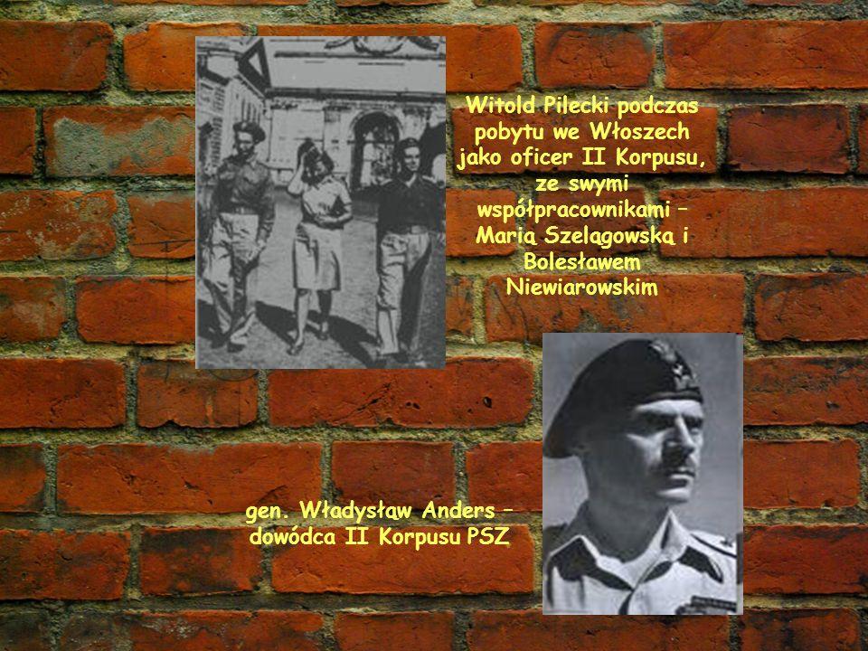 Witold Pilecki podczas pobytu we Włoszech jako oficer II Korpusu, ze swymi współpracownikami – Marią Szelągowską i Bolesławem Niewiarowskim gen. Włady