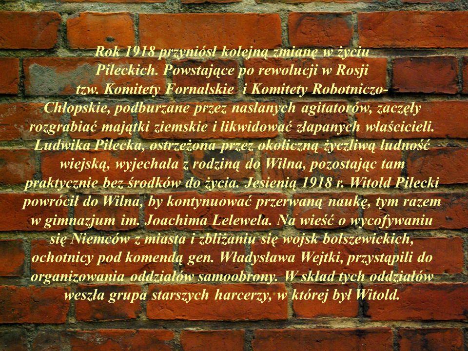 Rok 1918 przyniósł kolejną zmianę w życiu Pileckich. Powstające po rewolucji w Rosji tzw. Komitety Fornalskie i Komitety Robotniczo- Chłopskie, podbur