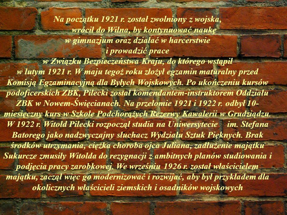 Na początku 1921 r. został zwolniony z wojska, wrócił do Wilna, by kontynuować naukę w gimnazjum oraz działać w harcerstwie i prowadzić prace w Związk