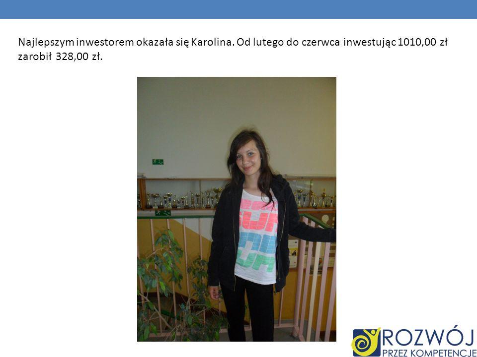 Najlepszym inwestorem okazała się Karolina. Od lutego do czerwca inwestując 1010,00 zł zarobił 328,00 zł.