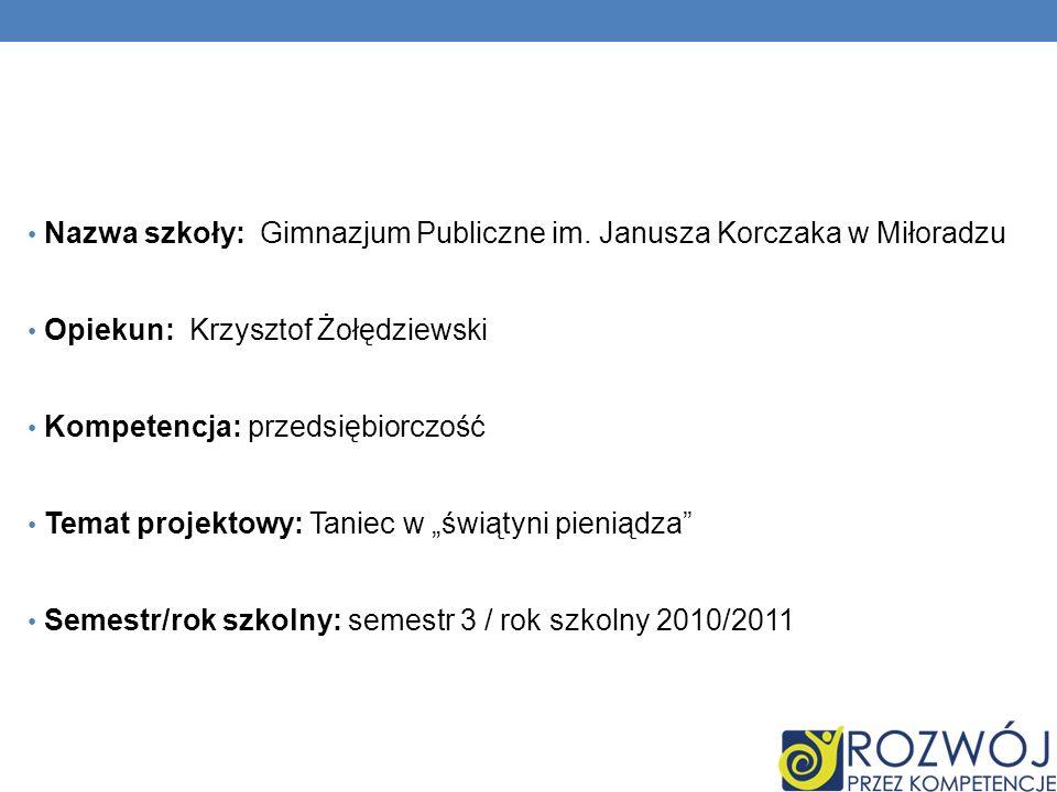Nazwa szkoły: Gimnazjum Publiczne im. Janusza Korczaka w Miłoradzu Opiekun: Krzysztof Żołędziewski Kompetencja: przedsiębiorczość Temat projektowy: Ta