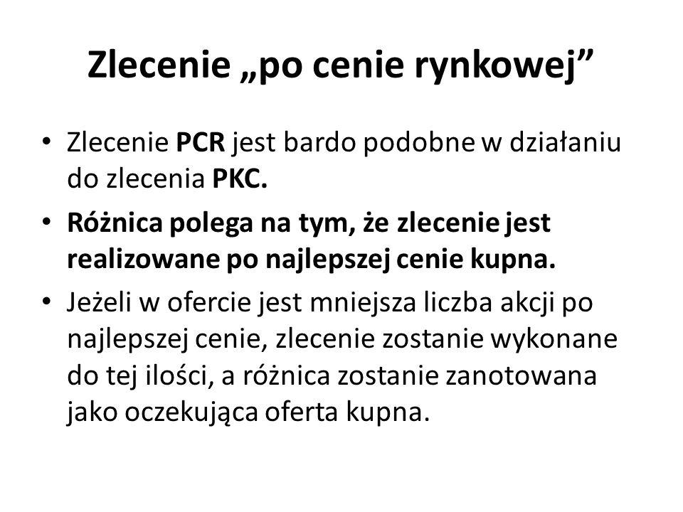 Zlecenie po cenie rynkowej Zlecenie PCR jest bardo podobne w działaniu do zlecenia PKC.