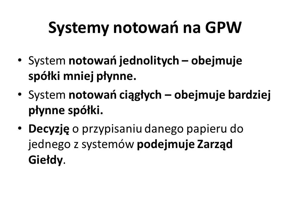 Systemy notowań na GPW System notowań jednolitych – obejmuje spółki mniej płynne.