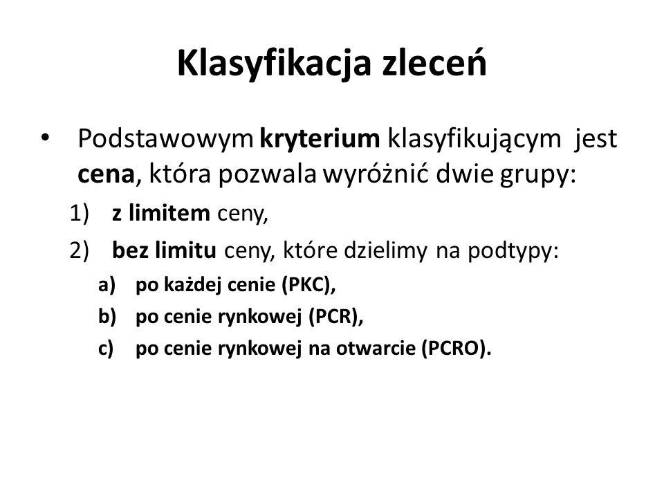 Klasyfikacja zleceń Podstawowym kryterium klasyfikującym jest cena, która pozwala wyróżnić dwie grupy: 1) z limitem ceny, 2) bez limitu ceny, które dzielimy na podtypy: a)po każdej cenie (PKC), b)po cenie rynkowej (PCR), c)po cenie rynkowej na otwarcie (PCRO).