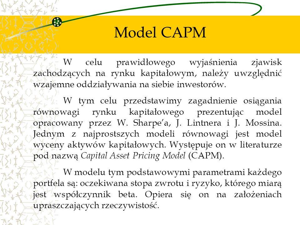 Model CAPM W celu prawidłowego wyjaśnienia zjawisk zachodzących na rynku kapitałowym, należy uwzględnić wzajemne oddziaływania na siebie inwestorów. W