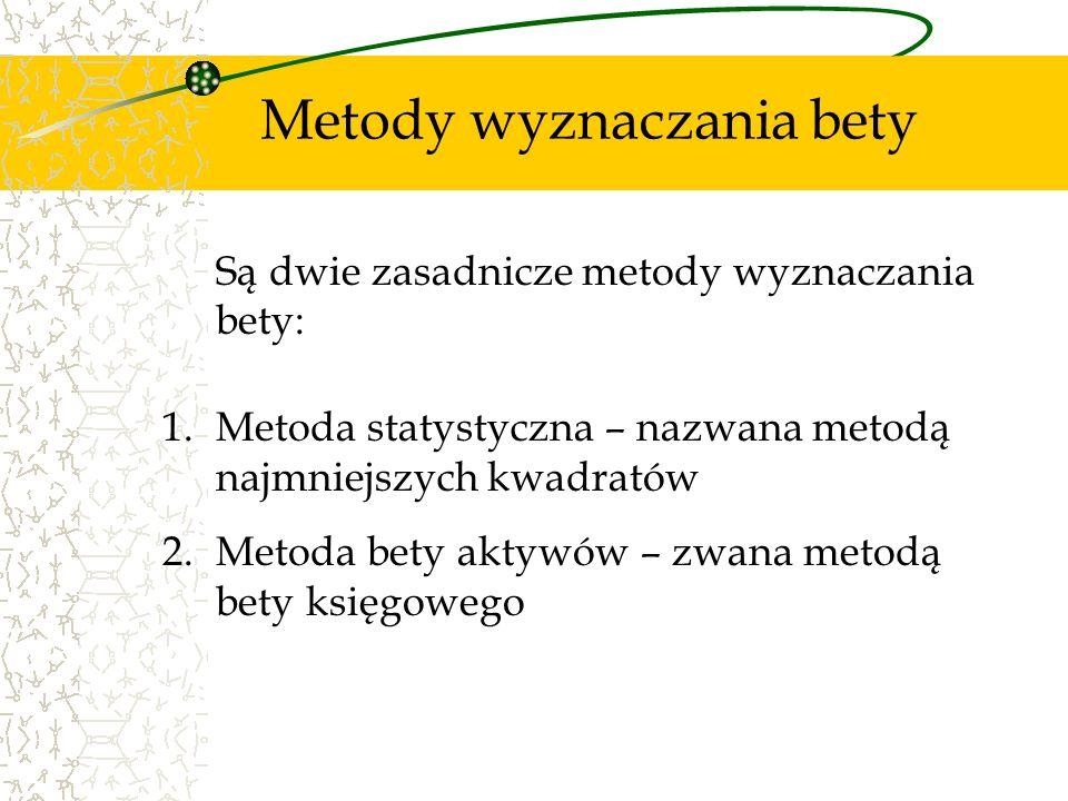 Metody wyznaczania bety Są dwie zasadnicze metody wyznaczania bety: 1.Metoda statystyczna – nazwana metodą najmniejszych kwadratów 2.Metoda bety aktyw