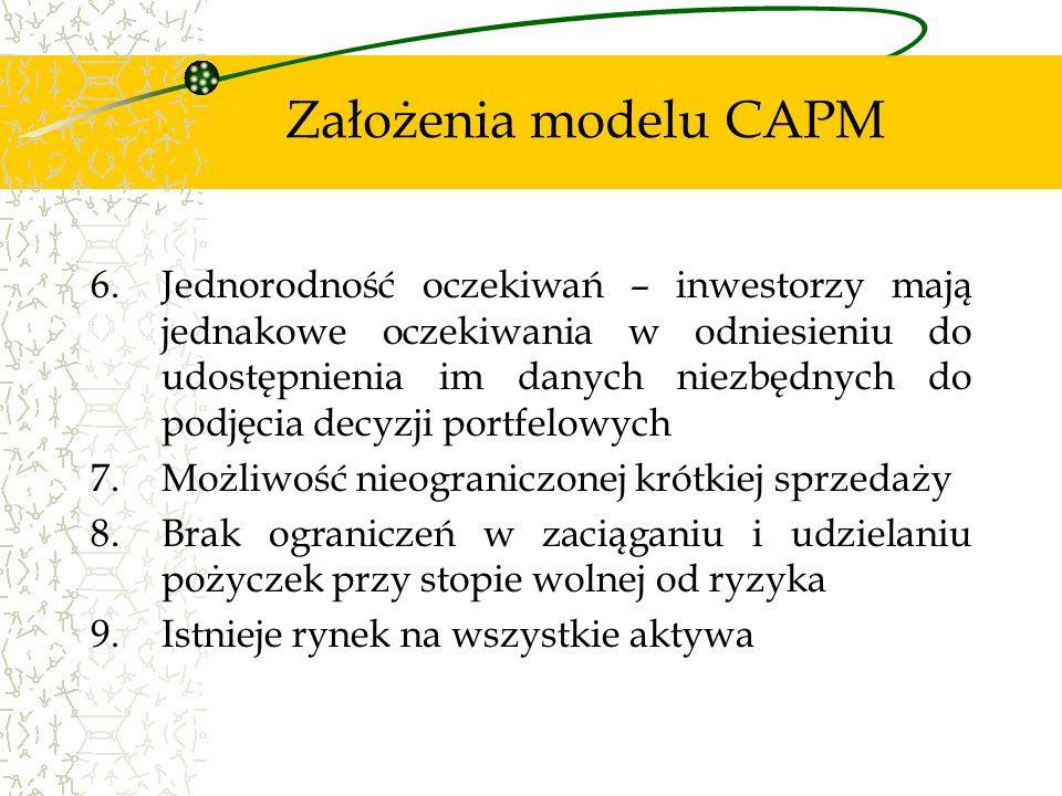 Założenia modelu CAPM 6.Jednorodność oczekiwań – inwestorzy mają jednakowe oczekiwania w odniesieniu do udostępnienia im danych niezbędnych do podjęci