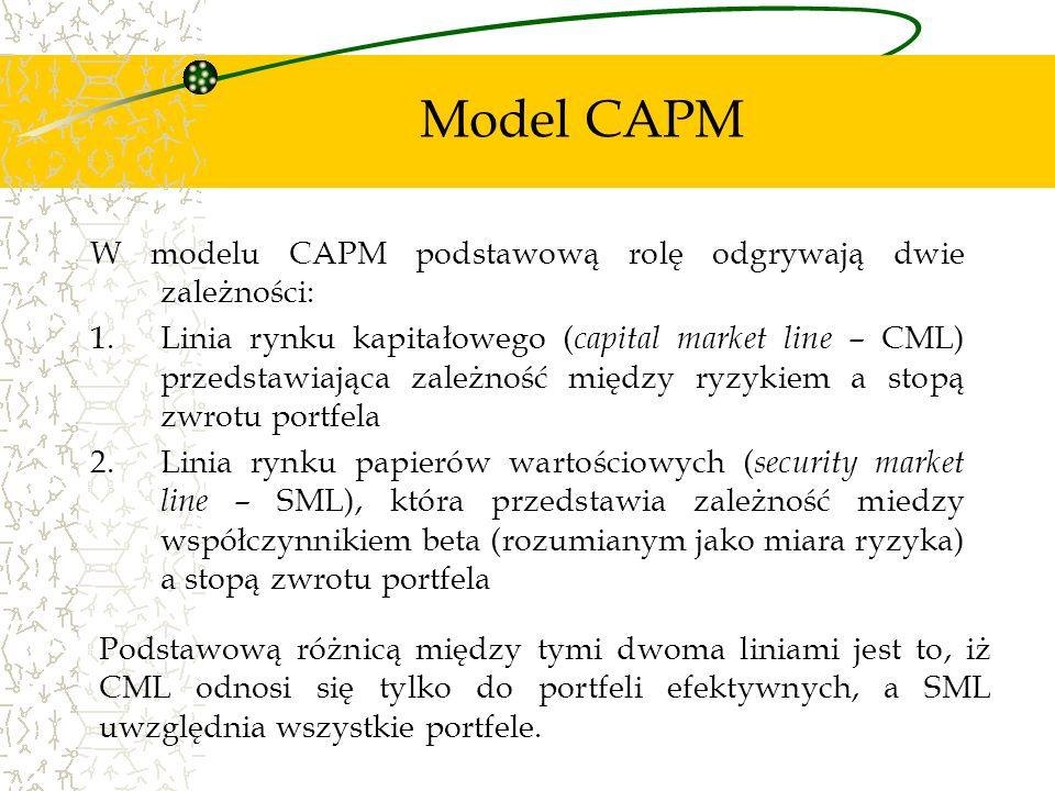 W modelu CAPM podstawową rolę odgrywają dwie zależności: 1.Linia rynku kapitałowego ( capital market line – CML) przedstawiająca zależność między ryzy