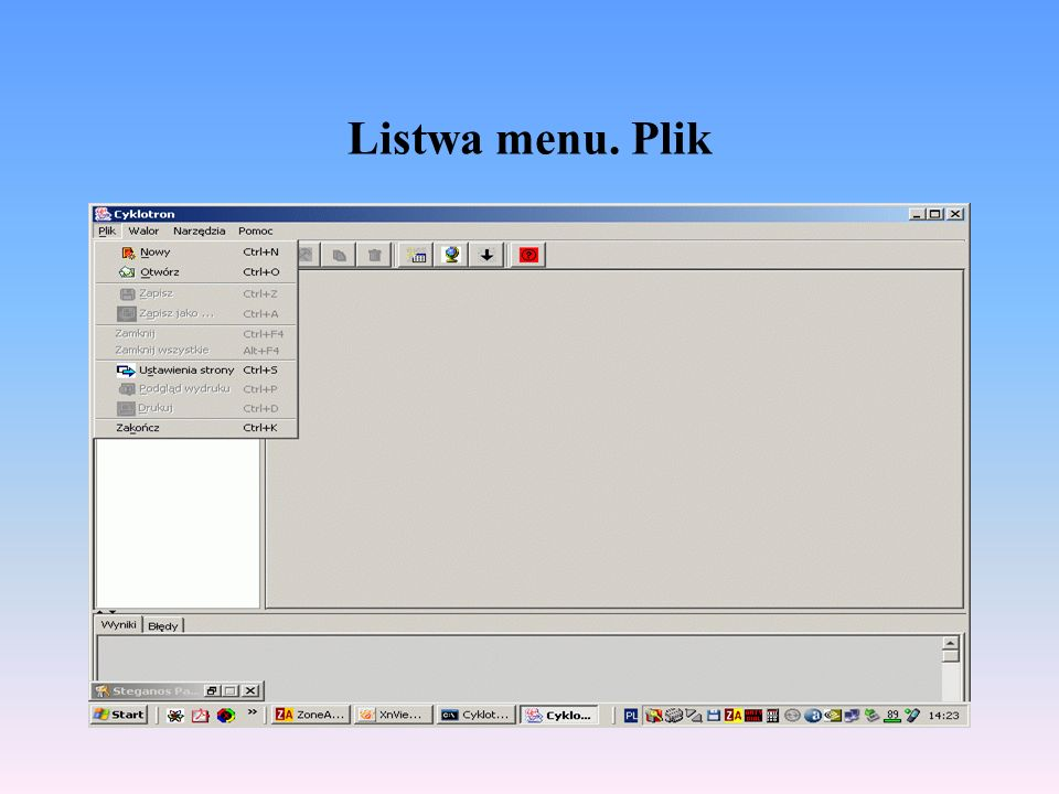 Listwa menu. Plik