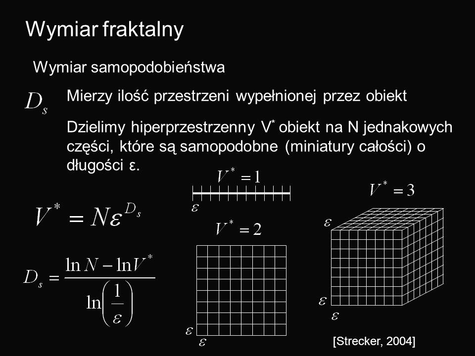 Wymiar fraktalny Wymiar samopodobieństwa Mierzy ilość przestrzeni wypełnionej przez obiekt Dzielimy hiperprzestrzenny V * obiekt na N jednakowych częś