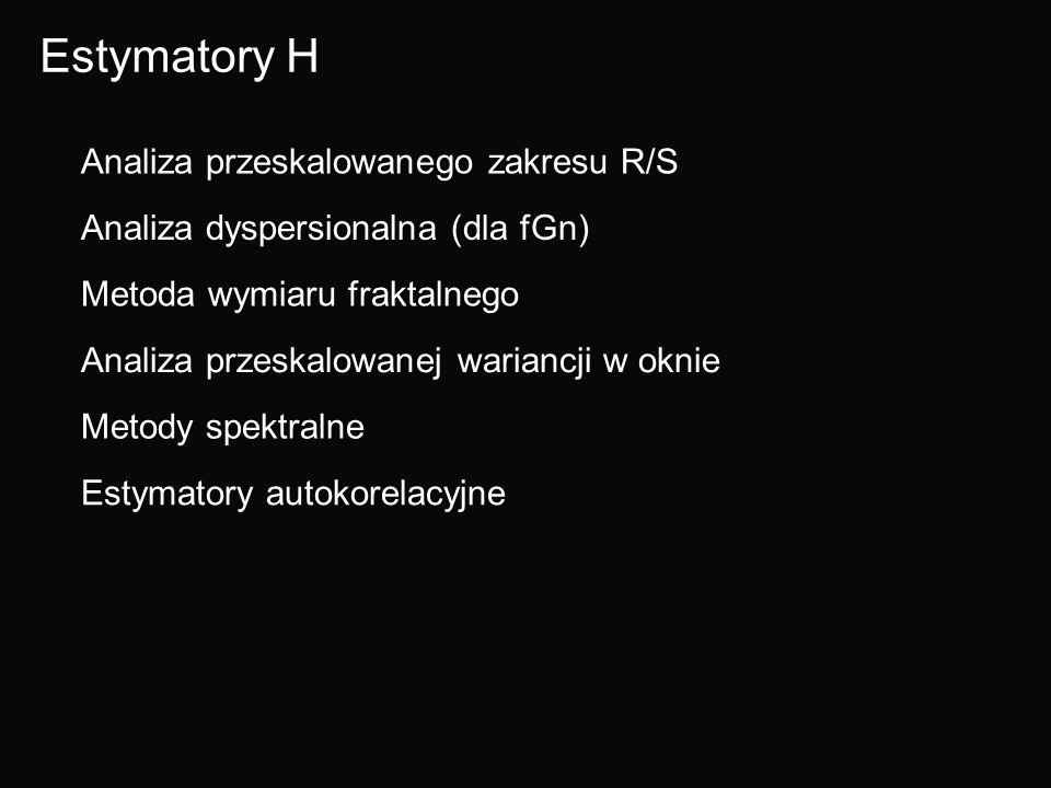 Estymatory H Analiza przeskalowanego zakresu R/S Analiza dyspersionalna (dla fGn) Metoda wymiaru fraktalnego Analiza przeskalowanej wariancji w oknie