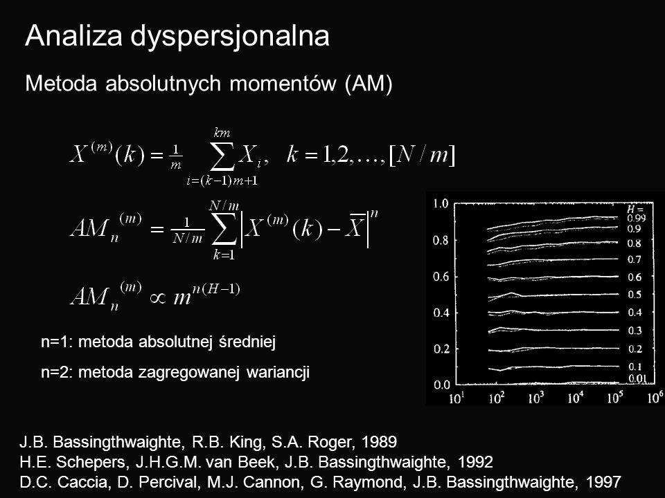 Analiza dyspersjonalna Metoda absolutnych momentów (AM) n=1: metoda absolutnej średniej n=2: metoda zagregowanej wariancji J.B. Bassingthwaighte, R.B.