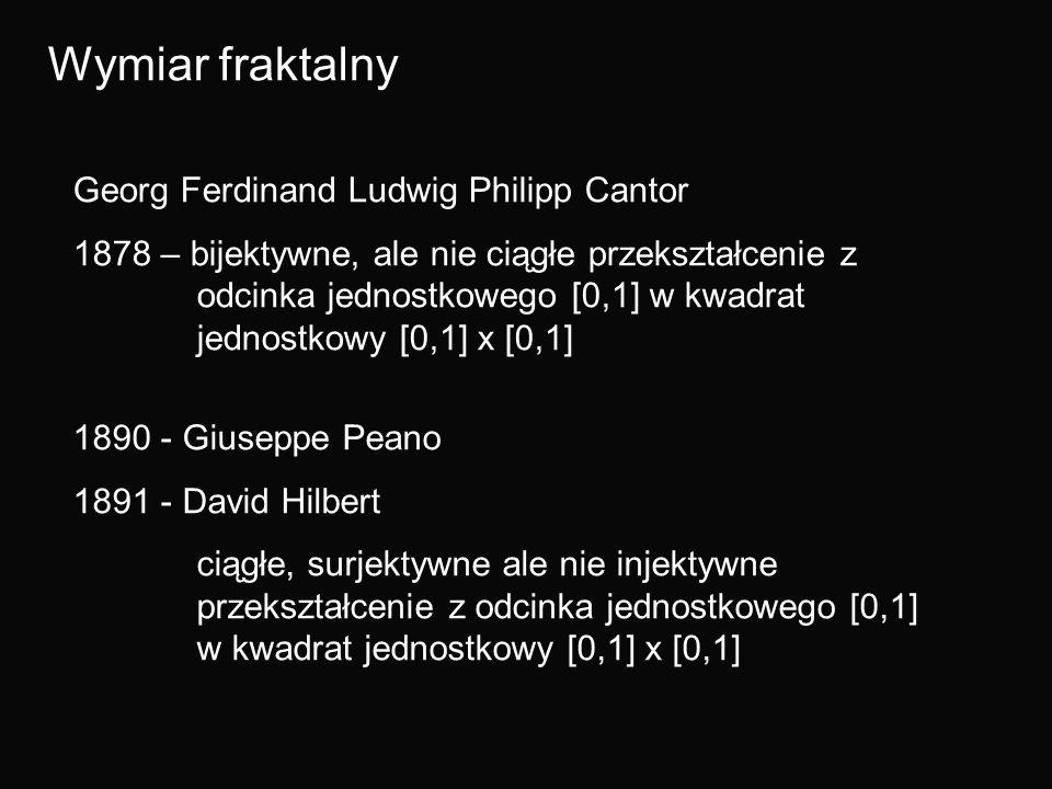 Wymiar fraktalny Georg Ferdinand Ludwig Philipp Cantor 1878 – bijektywne, ale nie ciągłe przekształcenie z odcinka jednostkowego [0,1] w kwadrat jedno