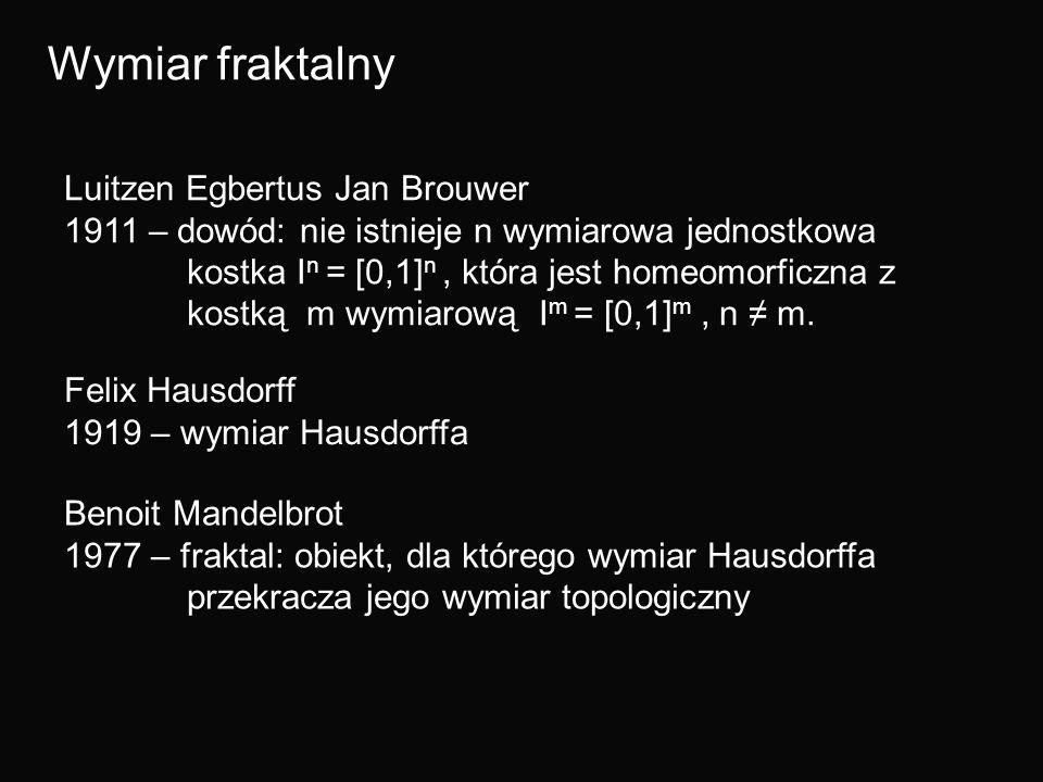 Wymiar fraktalny Luitzen Egbertus Jan Brouwer 1911 – dowód: nie istnieje n wymiarowa jednostkowa kostka I n = [0,1] n, która jest homeomorficzna z kos
