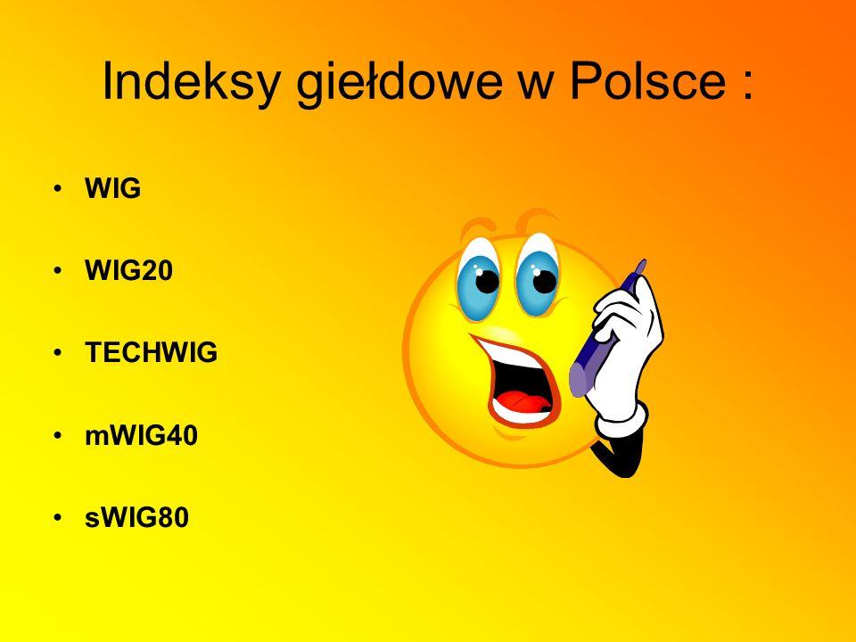 Indeksy giełdowe w Polsce : WIG WIG20 TECHWIG mWIG40 sWIG80