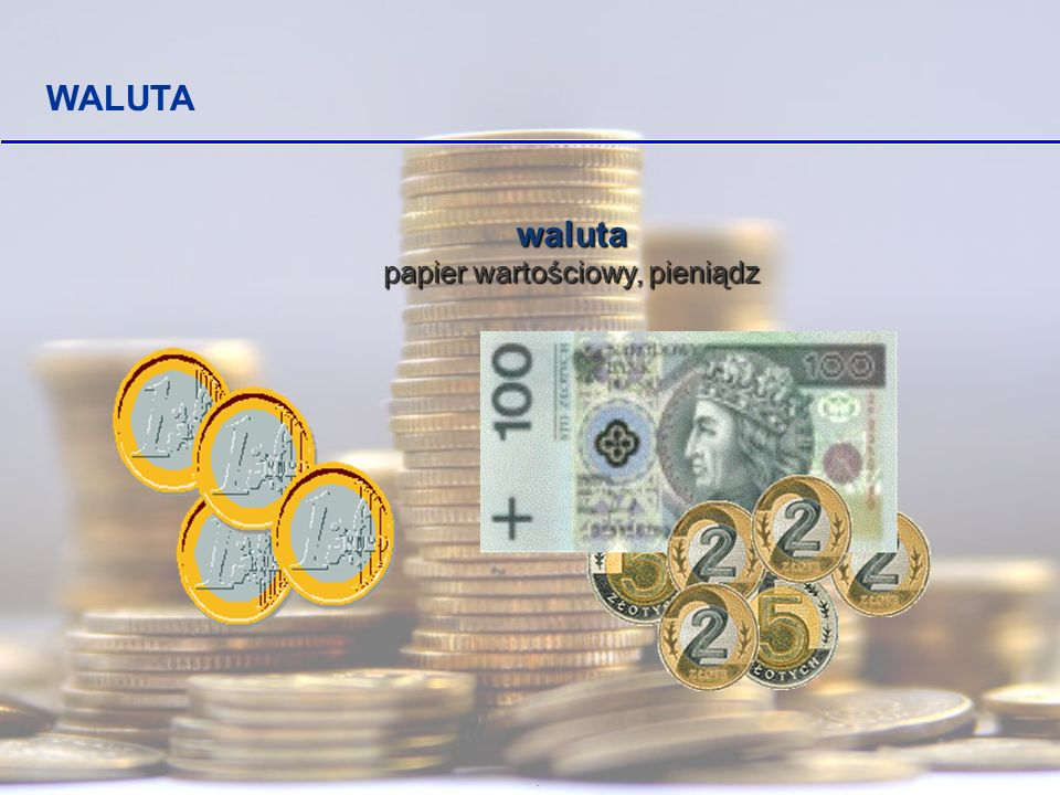 . Nasza waluta Banknoty to pieniądze papierowe Monety to pieniądze metalowe