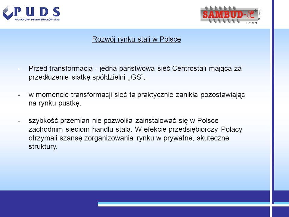 -Przed transformacją - jedna państwowa sieć Centrostali mająca za przedłużenie siatkę spółdzielni GS. -w momencie transformacji sieć ta praktycznie za