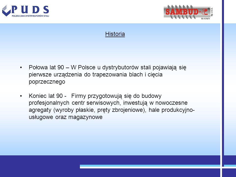 Połowa lat 90 – W Polsce u dystrybutorów stali pojawiają się pierwsze urządzenia do trapezowania blach i cięcia poprzecznego Koniec lat 90 - Firmy prz