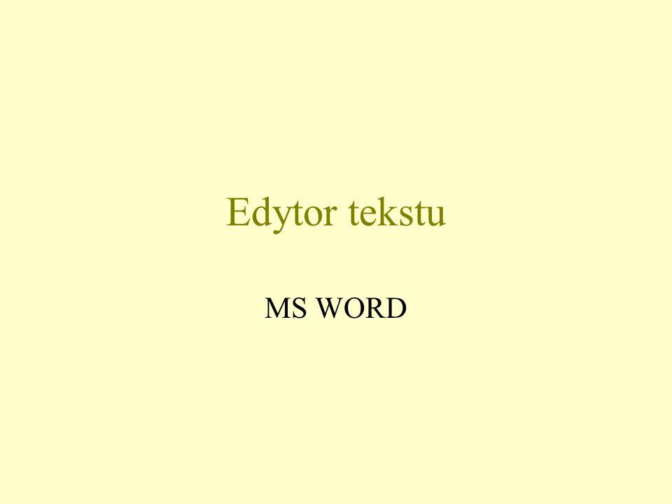 Edytor tekstu MS WORD